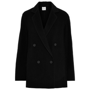 Black Double-breasted wool-blend coat