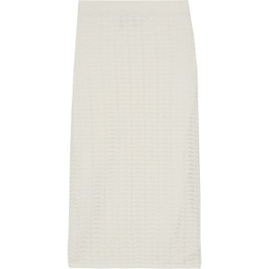 Ivory Crocheted cotton-blend pencil skirt