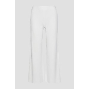 White Cropped ribbed-knit wide-leg pants