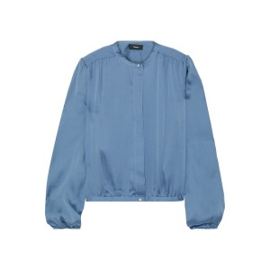 Storm blue Gathered silk-charmeuse blouse
