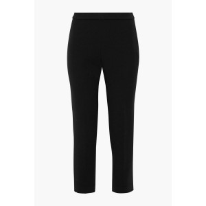 Black Cropped crepe tapered pants
