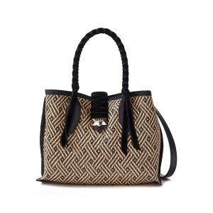 Black Marianne leather and velvet-trimmed woven raffia tote