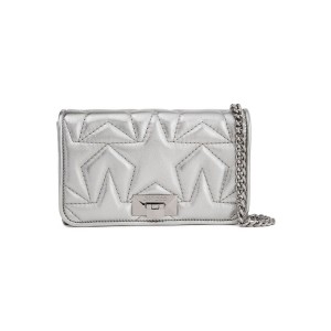 Silver Metallic quilted leather clutch