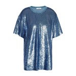 Light blue Denim-trimmed sequined French terry T-shirt