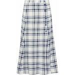 Navy Checked woven midi skirt