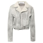 Light gray Synal cropped suede-effect shearling biker jacket