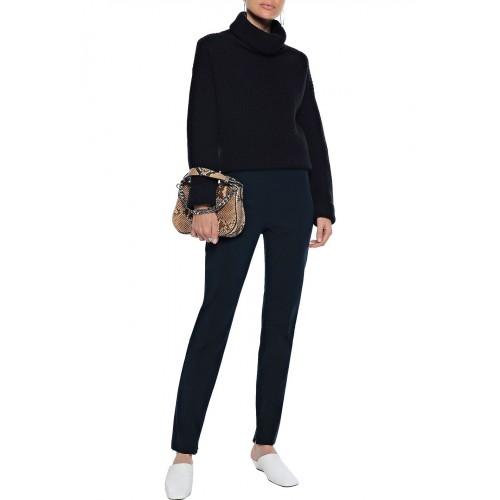 띠어리 Storm blue Pleated stretch-cotton slim-leg pants