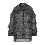 Black Calgary ruffle-trimmed printed georgette shirt