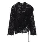 Black Lamata ruffled cotton macrame lace top