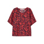 Tomato red Magical floral-print satin-crepe top