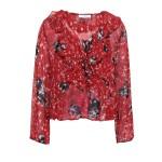 Claret Ruffled printed georgette blouse