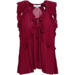 Claret Azna cutout ruffled gauze blouse