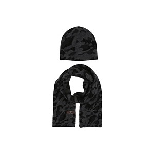 Camo Beanie and Scarf Boxed Set (Toddler/Little Kids) Black Multi