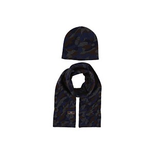 Camo Beanie and Scarf Boxed Set (Toddler/Little Kids) Navy Multi