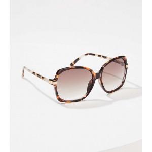 Metallic Trim Square Sunglasses