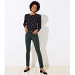 Modern Double Frayed Skinny Crop Jeans in Dark Green