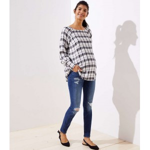 Petite Maternity Destructed Skinny Jeans in Mid Indigo Wash