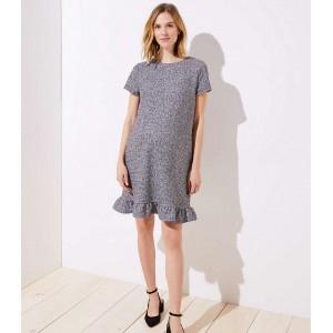 Maternity Boucle Ruffle Shift Dress