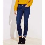 Curvy Frayed Cuff Skinny Jeans in Dark Indigo Wash