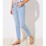 Curvy Soft Slim Pocket Chewed Hem Skinny Crop Jeans in Staple Light Indigo Wash