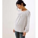 Maternity Striped Smocked Mixed Media Blouse