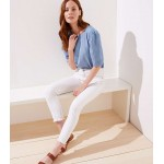 Modern Striped Slim Pocket Skinny Crop Jeans in White