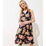 Maternity Floral Ruffled Tie Neck Swing Dress