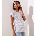 Maternity Striped Flutter Sleeve Tee