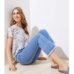 Distressed Hem Slim Pocket Flare Crop Jeans in Authentic Light Indigo Wash