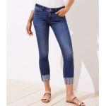 Curvy Embroidered Hem Skinny Crop Jeans in Original Mid Indigo Wash