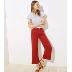 Wide Leg Crop Jeans in Red