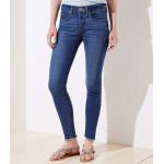 Curvy Frayed Skinny Jeans in Vivid Mid Indigo Wash