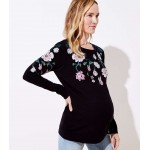 Maternity Floral Embroidered Sweatshirt