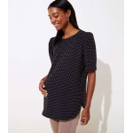 Maternity Dotted Puff Sleeve Top