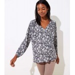Maternity Floral Mixed Media Tie Neck Top