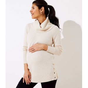 Maternity Side Button Cowl Tunic Sweater