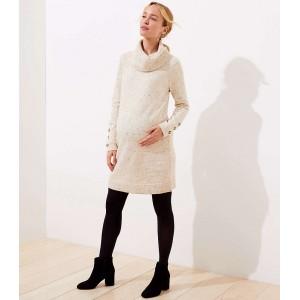 Maternity Flecked Button Cuff Sweater Dress