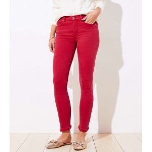 Curvy Frayed Skinny Jeans in Rio Red