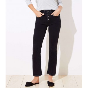 High Rise Flare Crop Jeans in Washed Black Wash