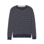 Premium Cotton Cashmere Stripe Crew-Neck Sweater