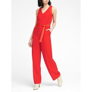 Petite Mixed Media V-Neck Jumpsuit