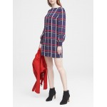 Petite Plaid Covered Button Shift Dress