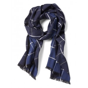 Windowpane Cotton-Wool Scarf