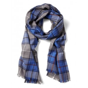 Framed Plaid Cotton-Wool Scarf
