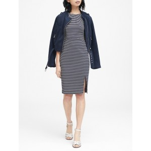 Petite Stripe Ponte Sheath Dress