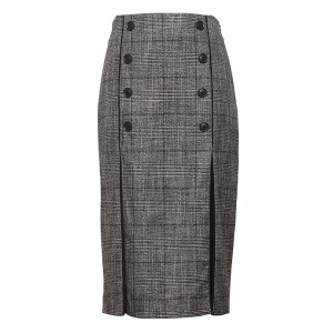 JAPAN ONLINE EXCLUSIVE Plaid Pencil Skirt with Pleated Panels