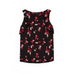 Petite Floral Flutter-Sleeve Top