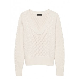 Cable-Knit Cropped V-Neck Sweater