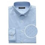Slim-Fit Tech-Stretch Cotton Dot Print Shirt