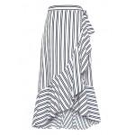 Stripe Ruffle-Wrap Midi Skirt